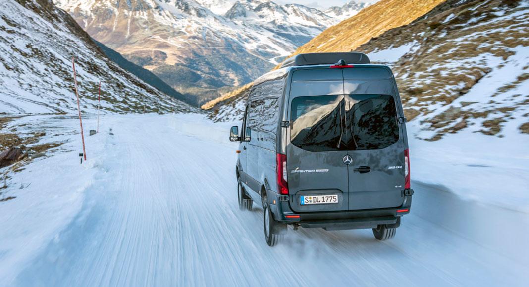 Mercedes Benz Sprinter driving in snow.