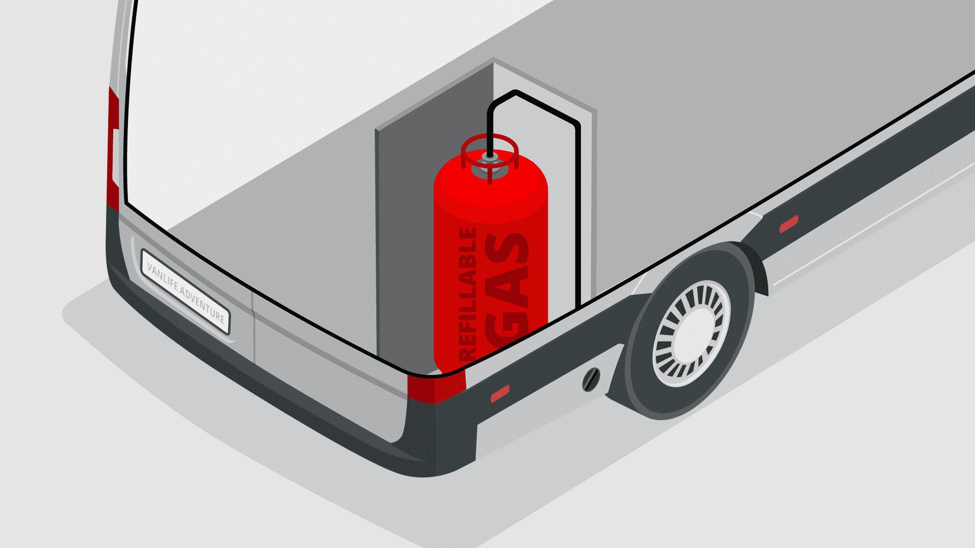a refillable gas cylinder tank installed inside a campervan