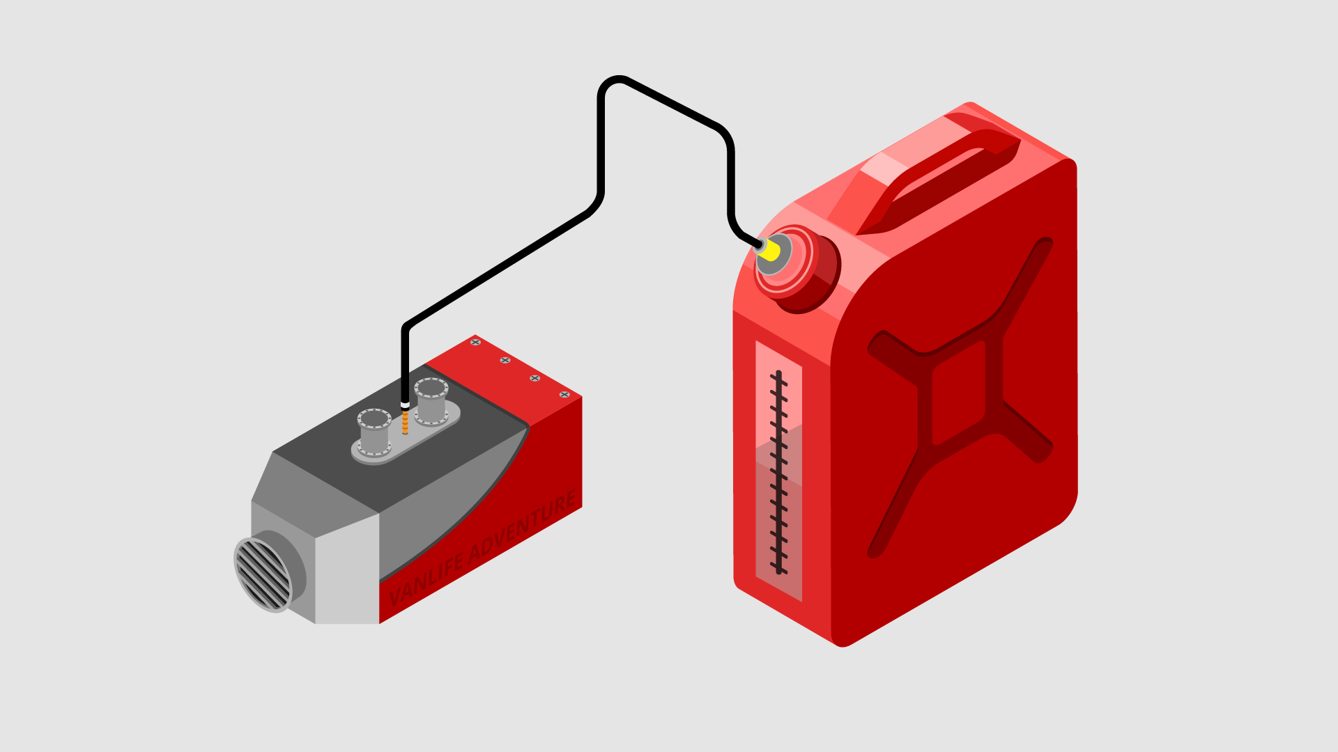 a diesel night heater system connected to a fuel tank illustration