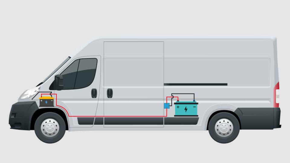 split charging wiring system in a campervan