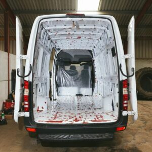 Inside view of a Mercedes Benz Sprinter ready for a campervan conversion.